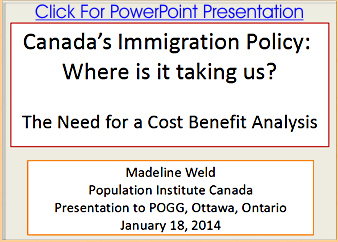 Madeline Weld, of the Population Institute of Canada, presentation to POGG in Ottawa 2014